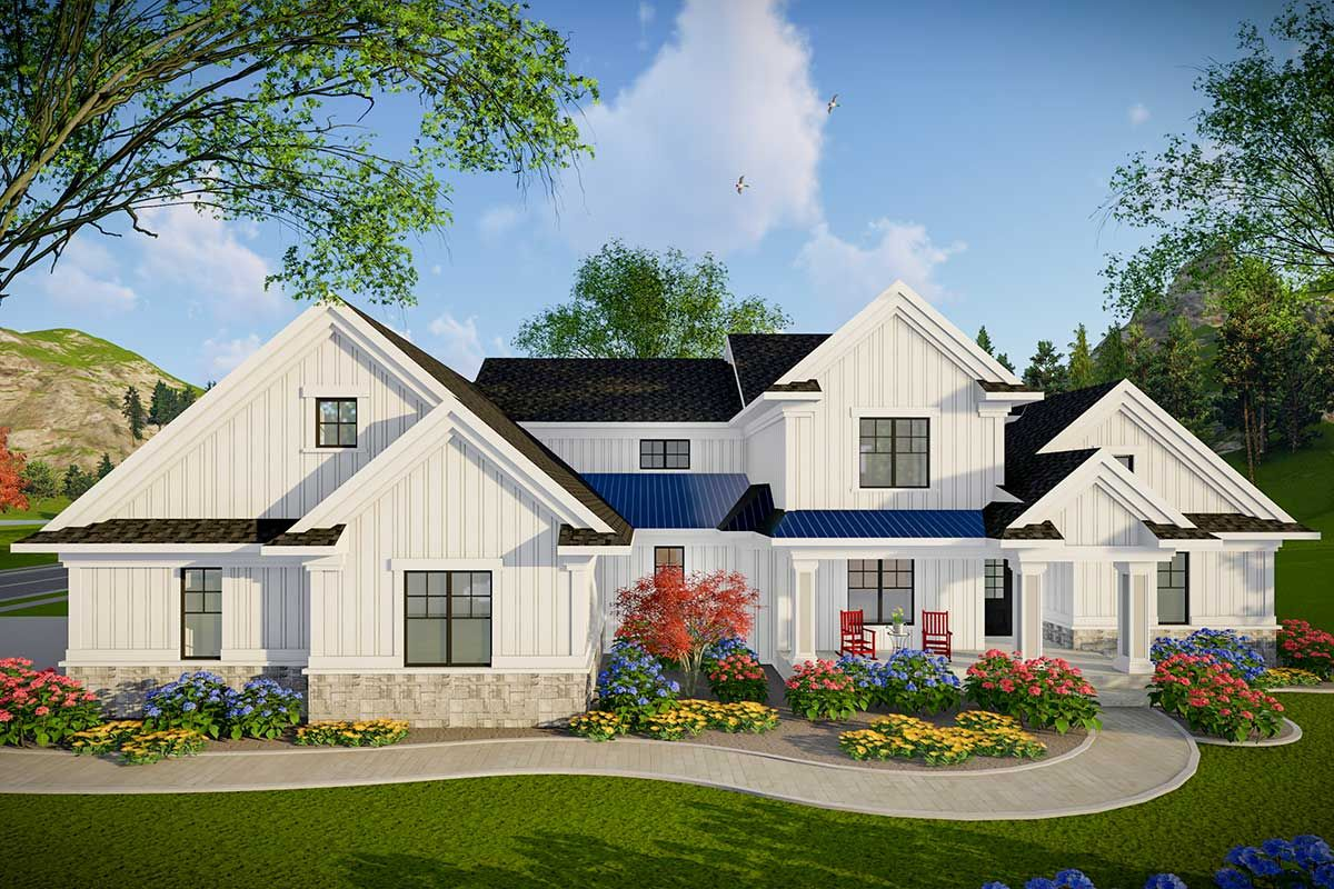 Plan 890087ah Modern Farmhouse Plan With 3 Car Side Entry Garage In 2021 Modern Farmhouse Plans Farmhouse Style House Porch House Plans