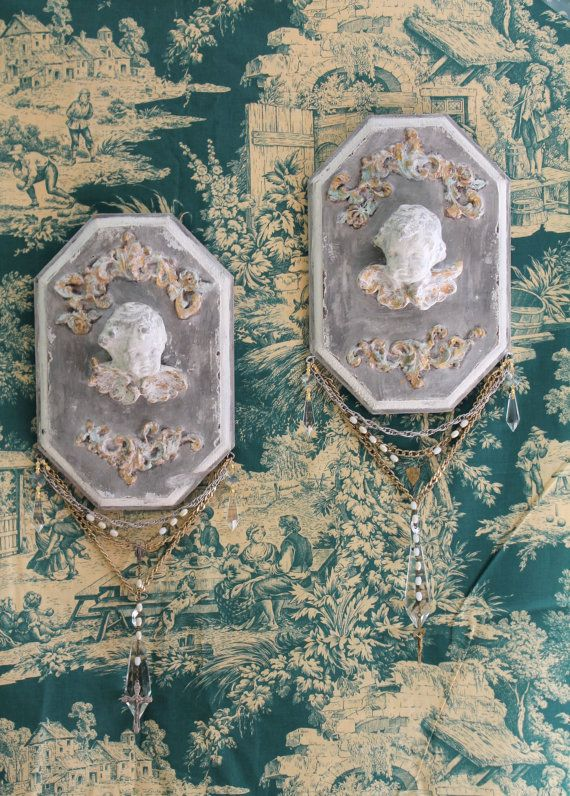 Set of 2 Antique Cherub Wall Hangings Wall Decor Wall Plaque