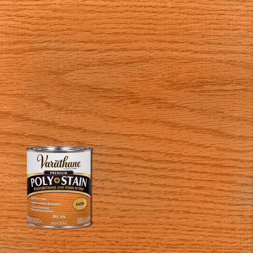 Varathane 1 Qt Pecan Satin Oil Based Interior Stain And Polyurethane 2 Pack In 2020 Pecan Interior Home Depot