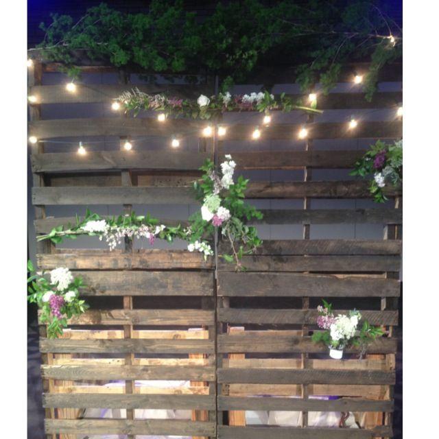 Pallet backdrop install by Brier Rose Design | Pallet ...