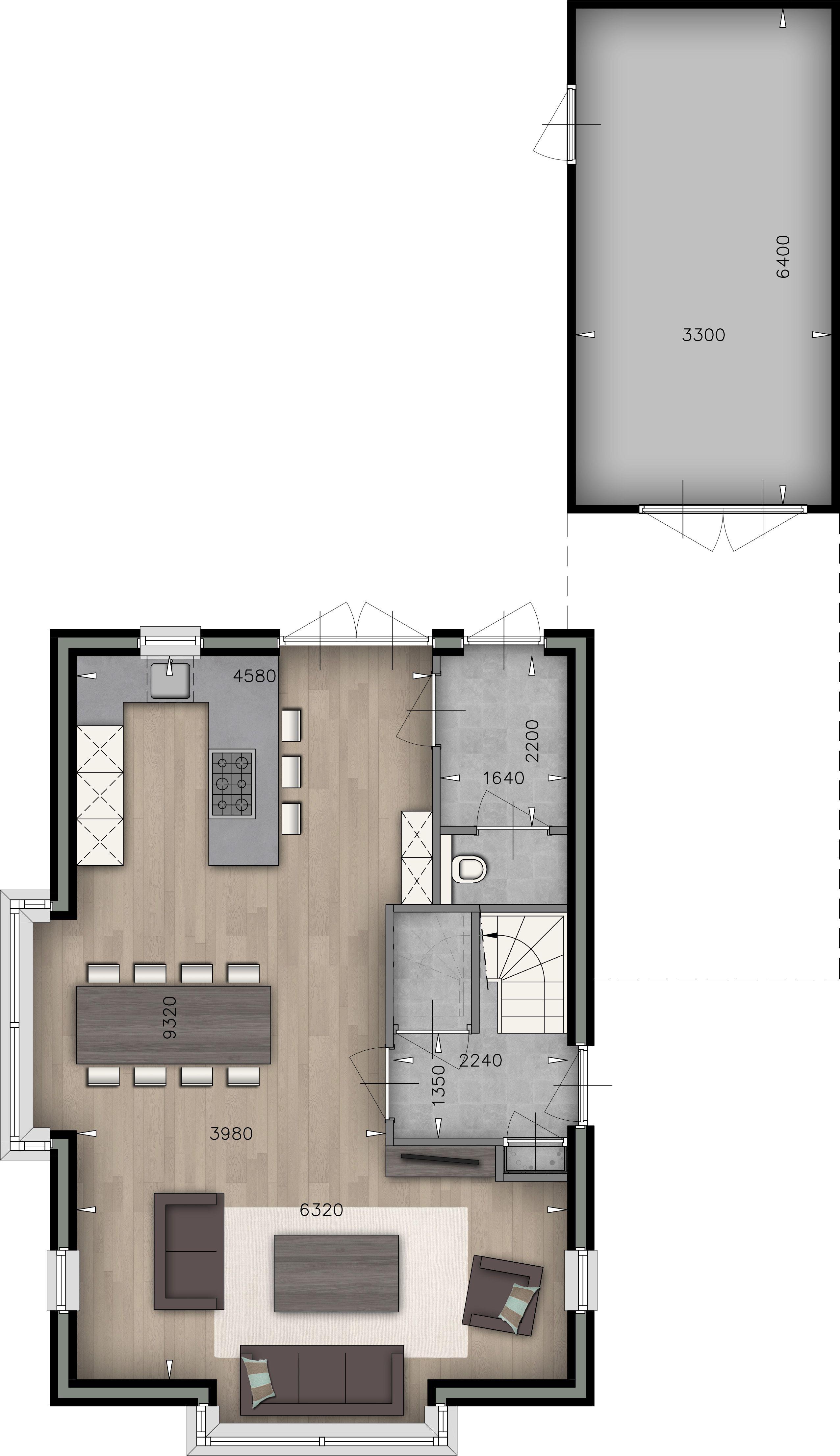 Plattegrond woonkamer keuken wc garage huis for Grondplan badkamer