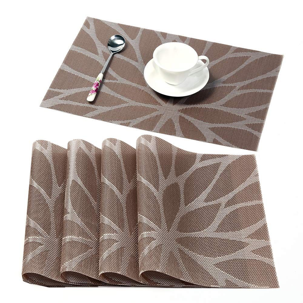 Coolmade Placemats For Dining Table Washable Placemat Set Of 4 Heat Resistant Woven Vinyl Non Slip Kitchen Table Mats Wipe Clean 4 Brown Walmart Com Table Mats Placemats Kitchen Placemats
