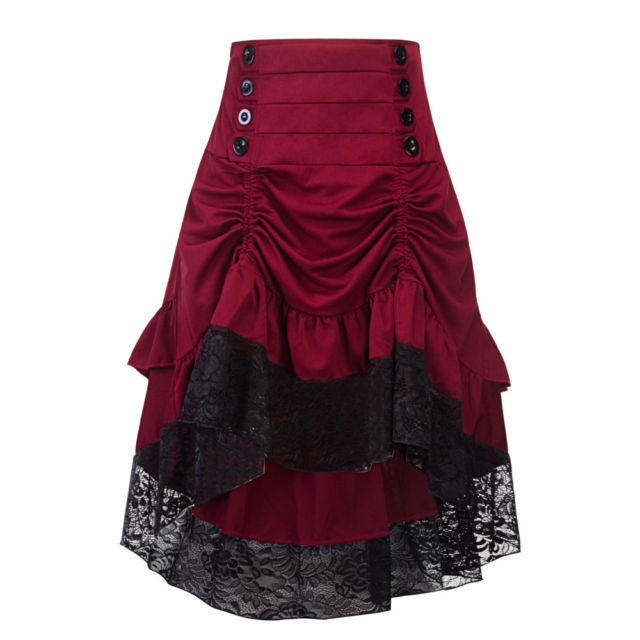 Victorian Long Ruffle Bustle Skirt Women Ladies SteamPunk Retro Gothic Dress
