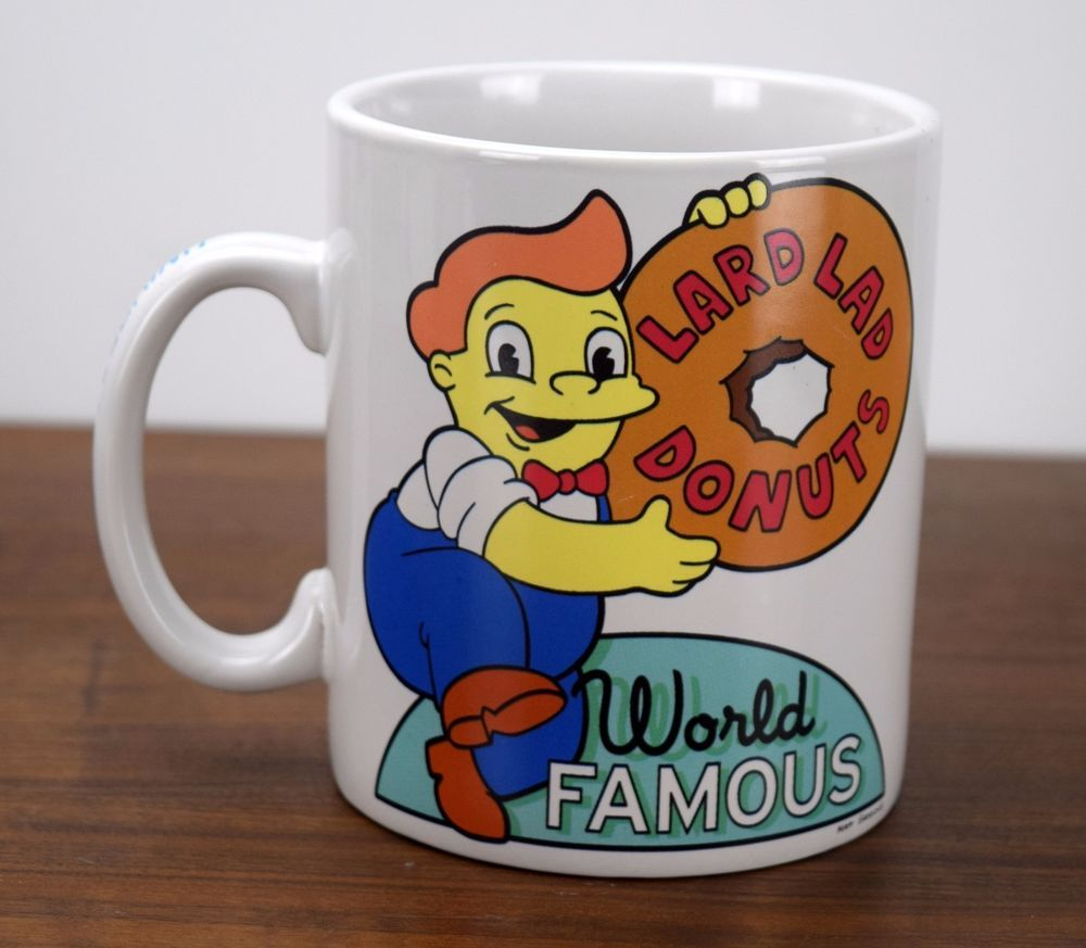 universal studios coffee cup mug the simpsons lard lad donuts world famous new
