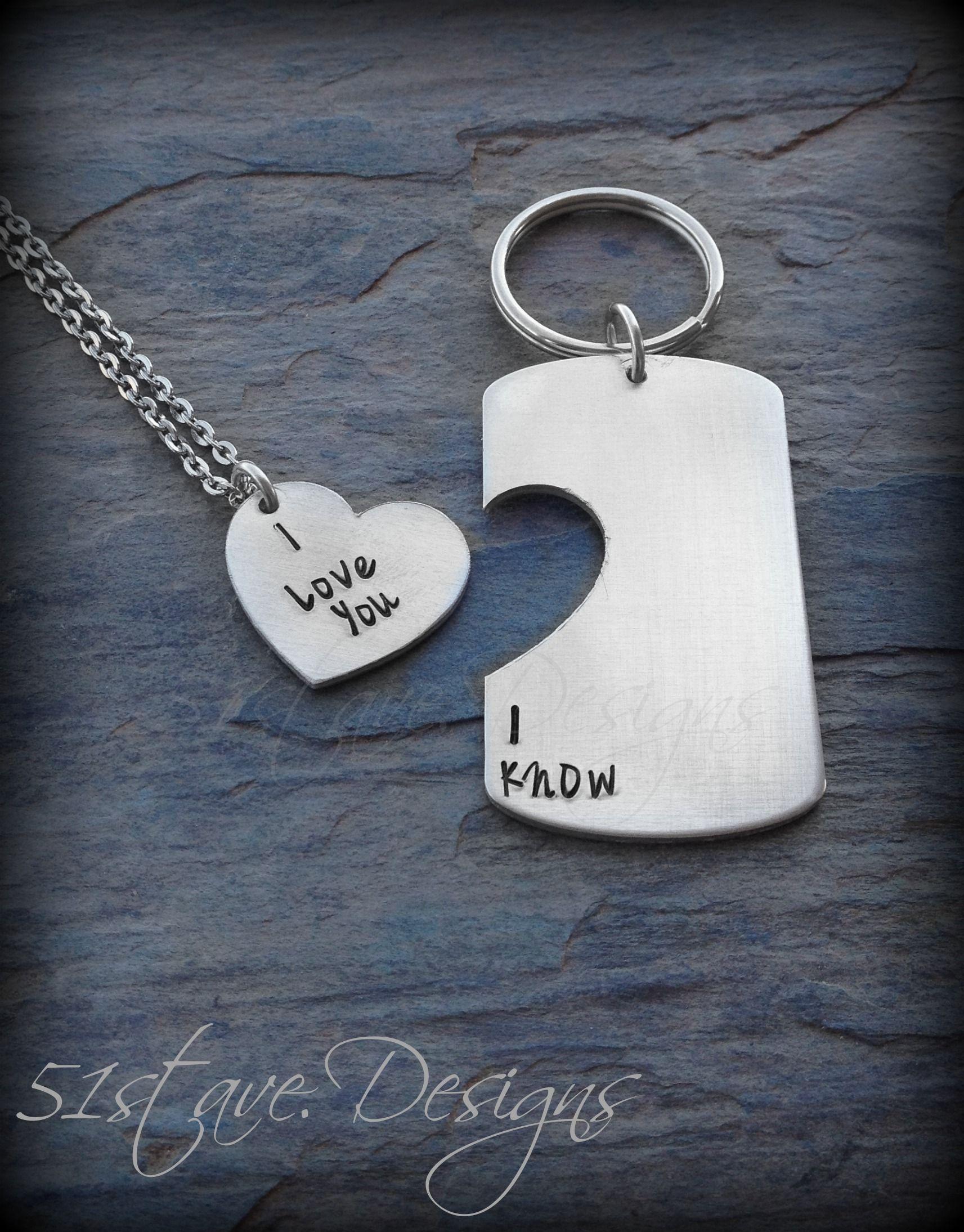 Diamond cut-out dog tag keychain set