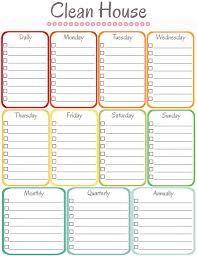 house chores checklist template