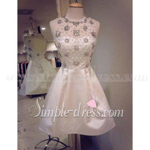 Simple-dress Gorgeous Gems Short A-line Backless Homecoming Dresses/Cocktail Dresses  SAHD-70719