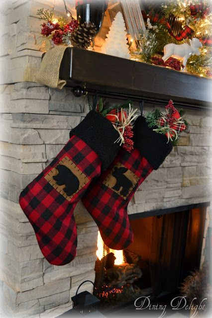 this year my christmas decorating began with the fireplace area of our home using buffalo check plaid and woodsy elements the mantel a