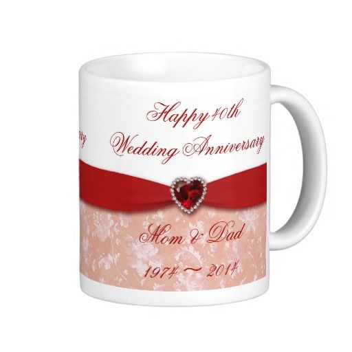 40th Wedding Anniversary Gift Ideas For Friends: Damask 40th Wedding Anniversary Design Coffee Mug