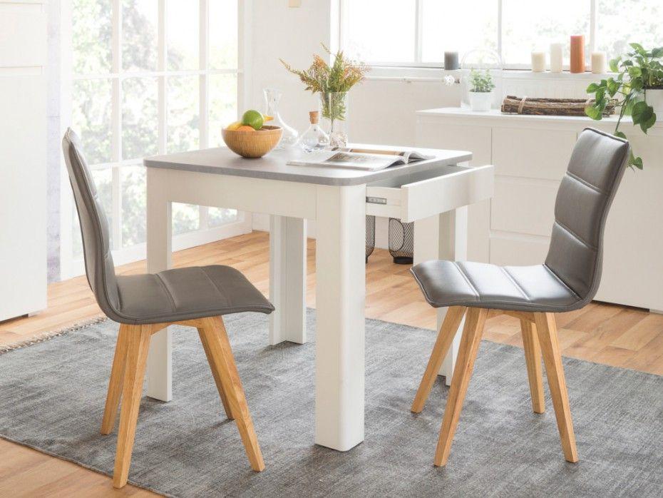 Table à manger NARVAL - 1 tiroir - Blanc & plateau effet béton