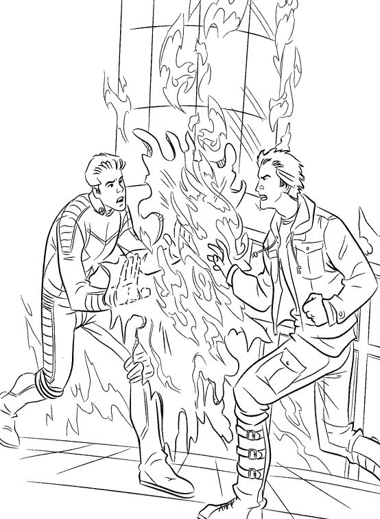 Pyro And Iceman Coloring Pages X Men Coloring Pages