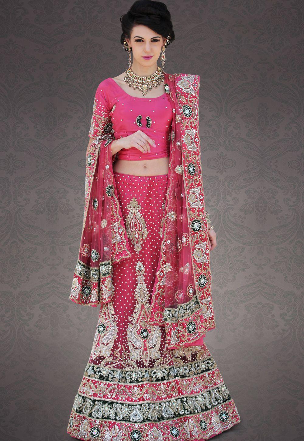 Pink Net #LehengaCholi @ $892.06 | Bridal Lehengas Online ...