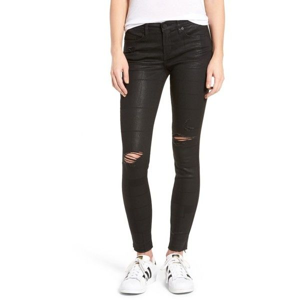 Women's Blanknyc Distressed Sparkle Skinny Jeans ($128) ❤ liked on Polyvore featuring jeans, low exposure, denim skinny jeans, torn jeans, ripped skinny jeans, destroyed skinny jeans and shiny jeans