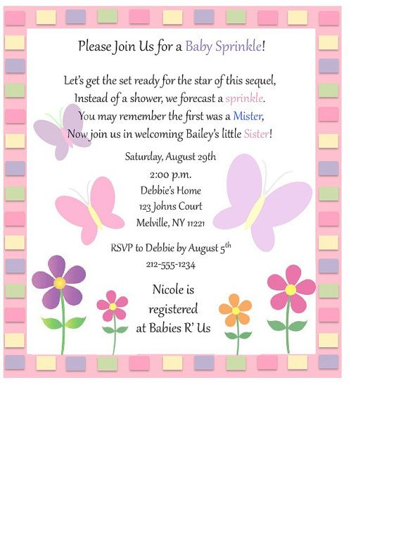 custom baby sprinkle invitations butterflies baby girl baby