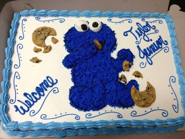 Exceptional Baby Cookie Monster Shower Cake