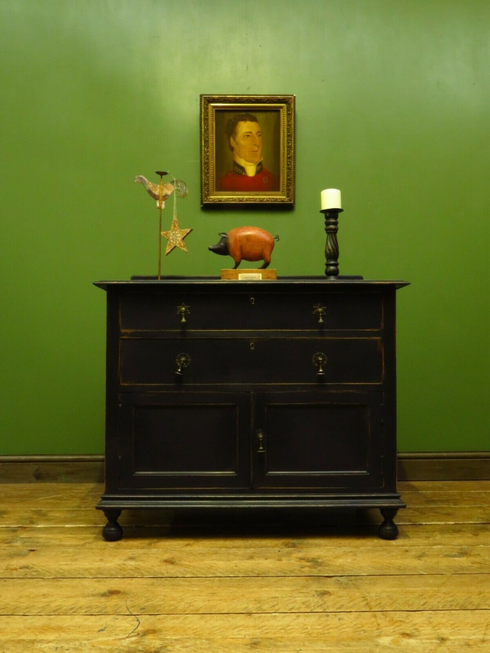 Painted Black Chest of Drawers Washstand Cupboard, Gothic