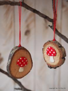Holzanhänger Fliegenpilz #weihnachtsbastelnmitkindernunter3