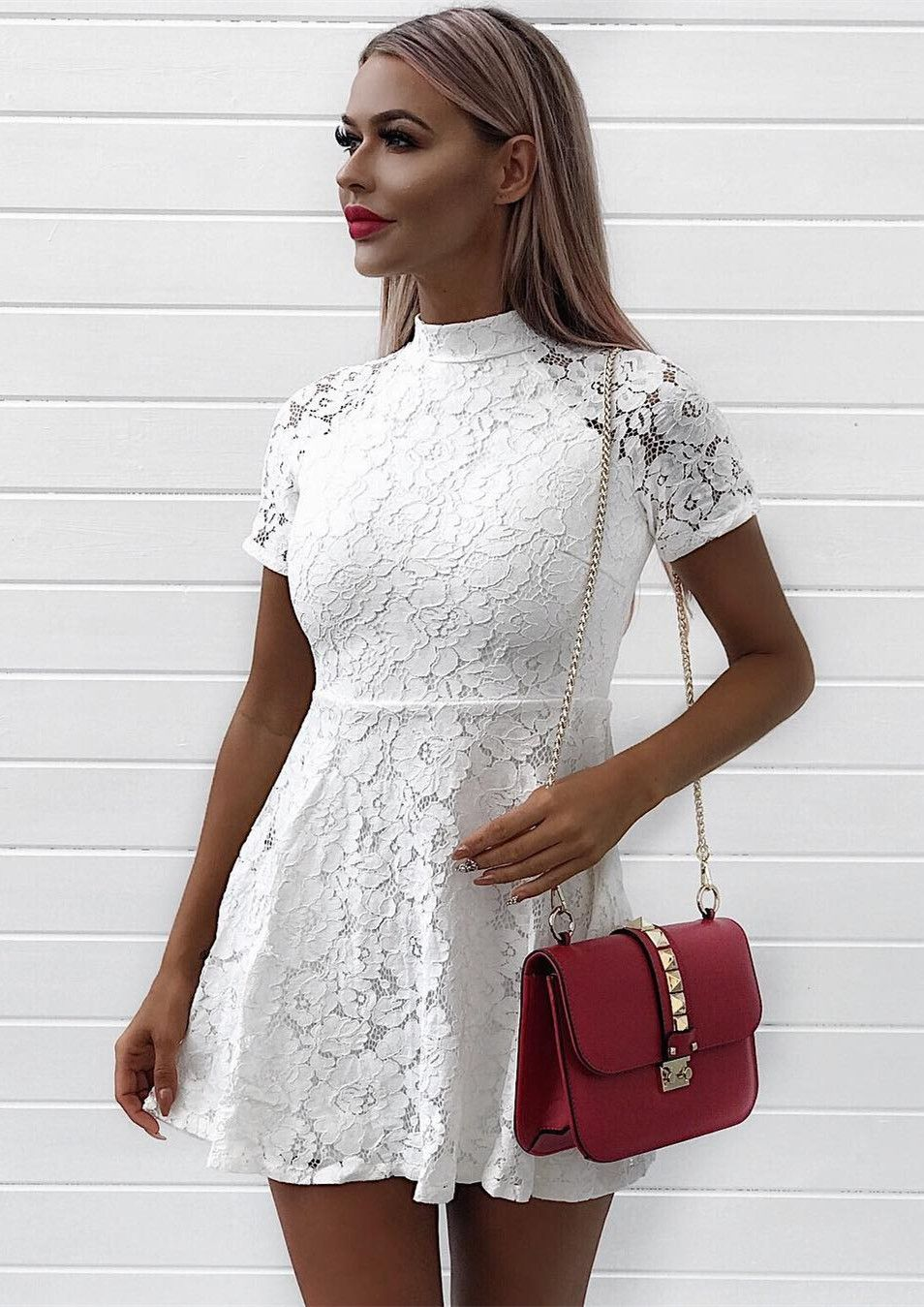Aline high neck short sleeves white lace party
