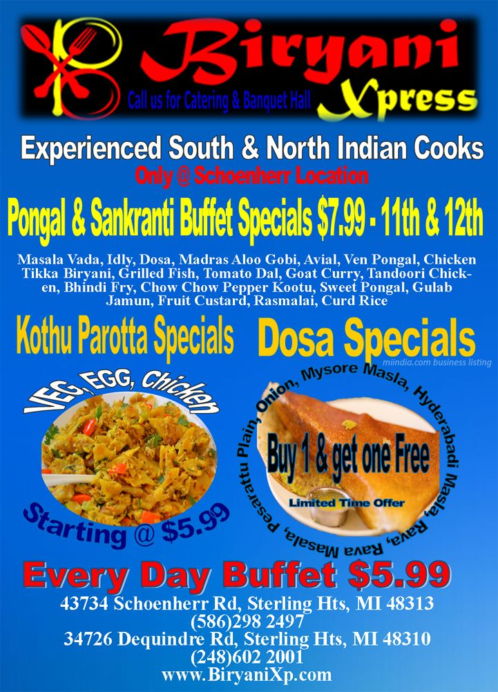 Pongal Sankranti Buffet Biryani Xpress Indian Foods