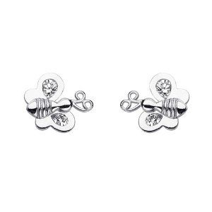 .925 Sterling Silver Rhodium Plated Butterfly CZ Stud