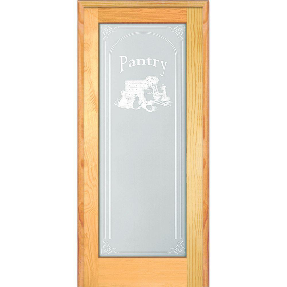 Milliken Millwork 33 5 In X 81 75 In Pantry Decorative Glass 1 Lite Unfinished Pine W Prehung Interior French Doors Prehung Interior Doors Glass French Doors