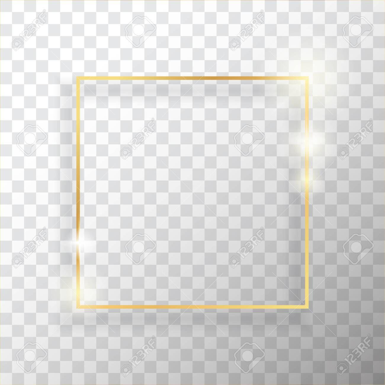 Gold Square Vintage Frame With Shadow On Transparent Background Golden Luxury Rectangular Border Realistic Vector Illustra Shadow Frame Frame Vintage Frames