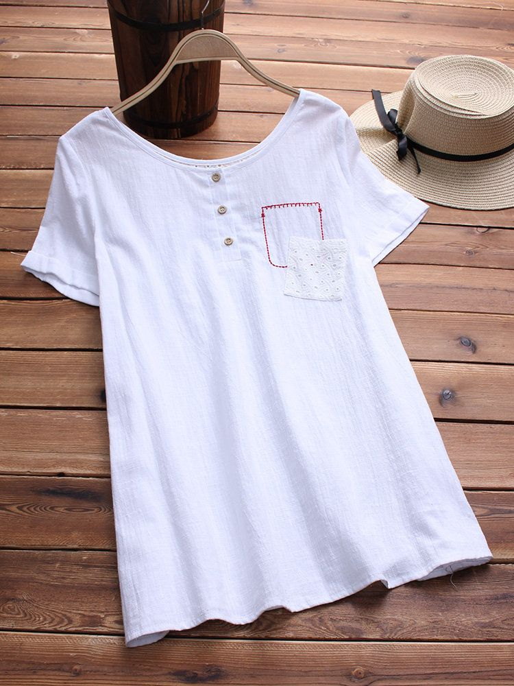 f16473b60633c Women Pure Color Pockets Hollow Out Short Sleeve Shirt - Newchic ...
