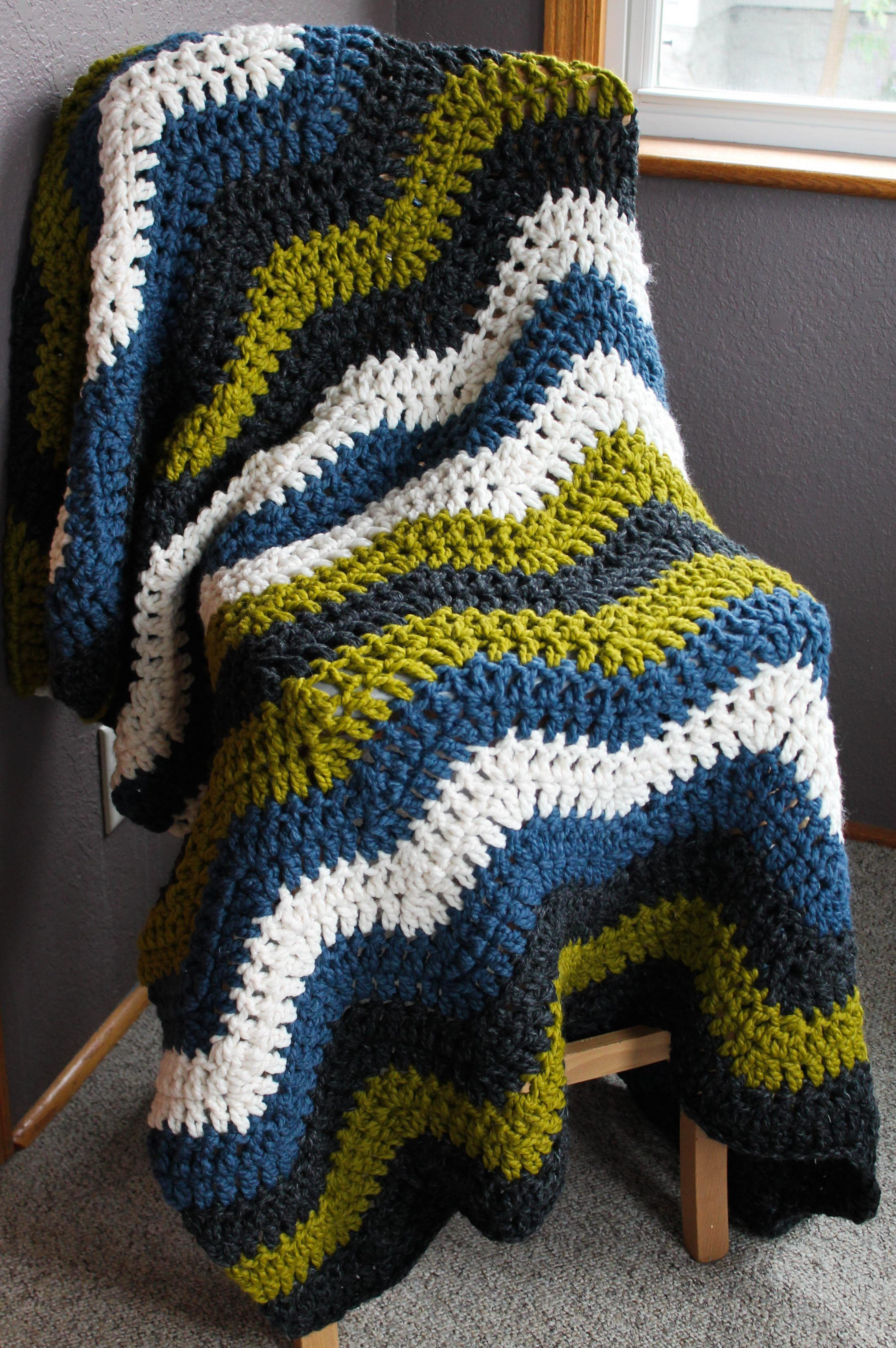 Check out my first ever Crochet Chevron Blanket! I found this ...