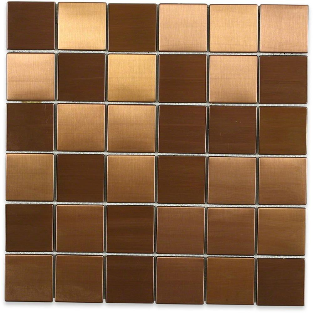 Ivy Hill Tile Metal Copper 2 In Squares 12 In X 12 In X 8 Mm Stainless Steel Backsplash Tile Ext3rd101738 The Home Depot Stainless Steel Tile Backsplash Metal Mosaic Tiles Stainless Steel Tile