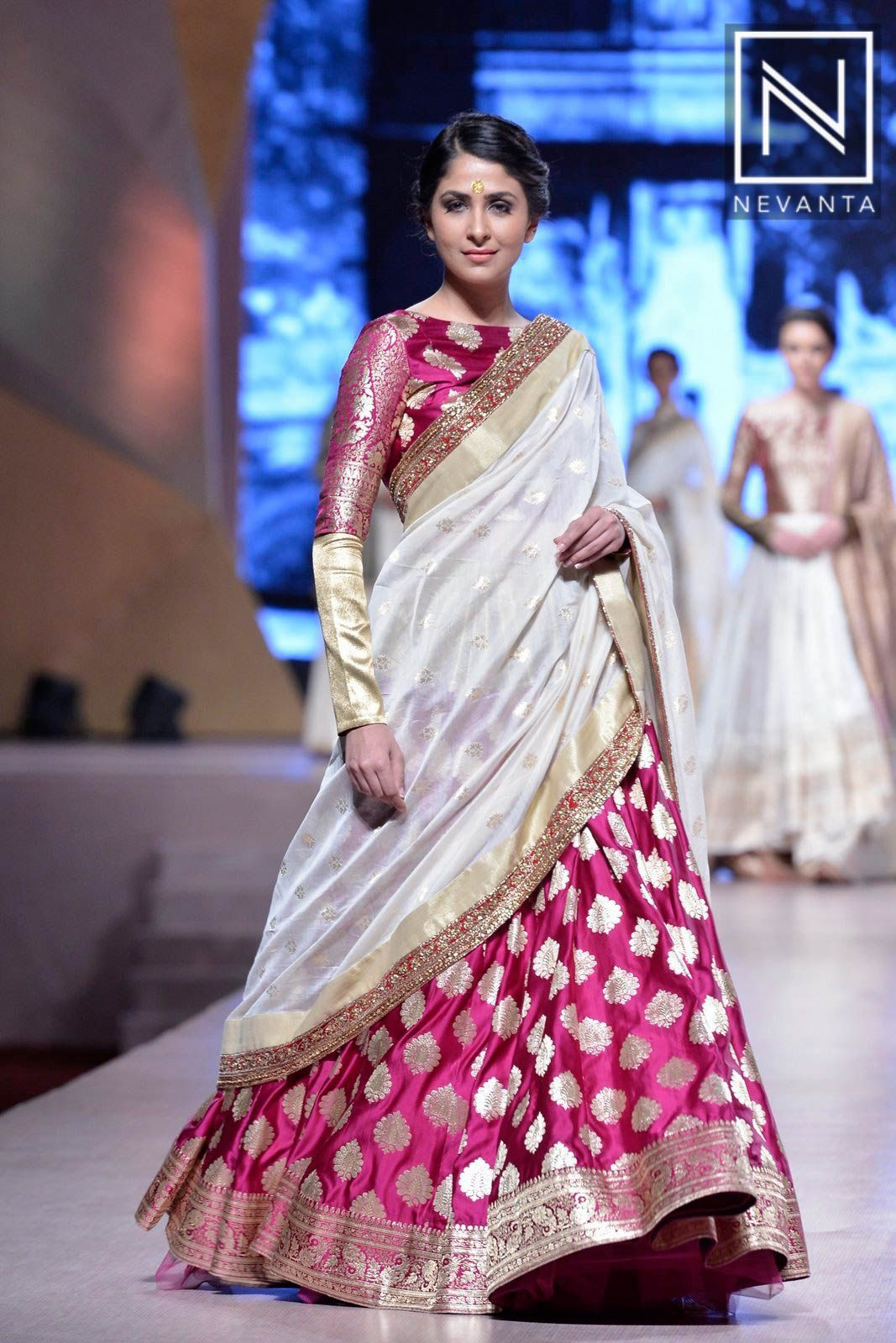 1e226d7c2 One can shine bright in this beautiful #pink #banarasi weaved half-saree by  #ManishMalhotra