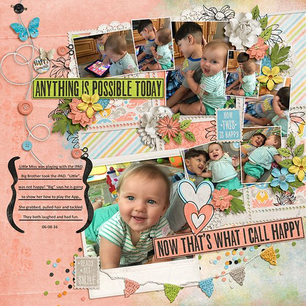 """Congratulations to msbrad for her layout """"Little tackles Big"""". This fantastic layout was voted LOTW by the scrappers on our site.  We loved how she stacked so many adorable photos on her page. The composition is amazing & her use of the elements & papers really help your eye move through the photos. What a fabulous layout!  Be sure to head to PBP to leave a little love on this beautiful layout!"""
