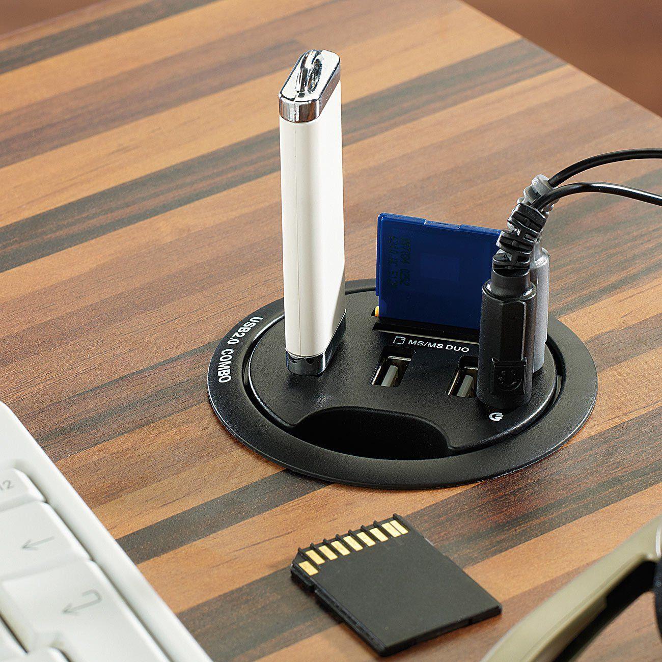 Xystec Tisch-Kabeldose 60 mm, USB-2.0-Hub, Card-Reader: Amazon.de ...