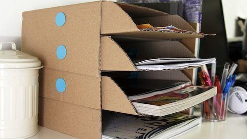 Diy Cardboard Desk Organizer Large