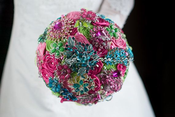 Pink Wedding Brooch Bouquet. Deposit Candy Cane. By