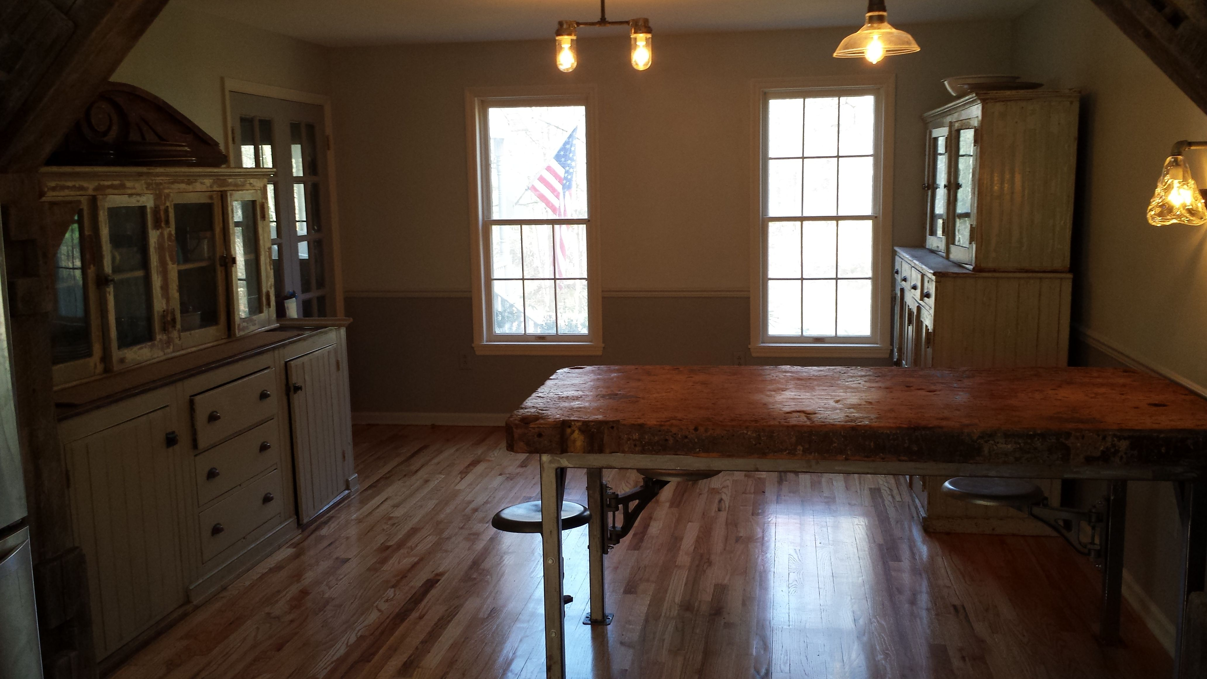 Kitchen Dining Bar Table With Attached Stool Seating