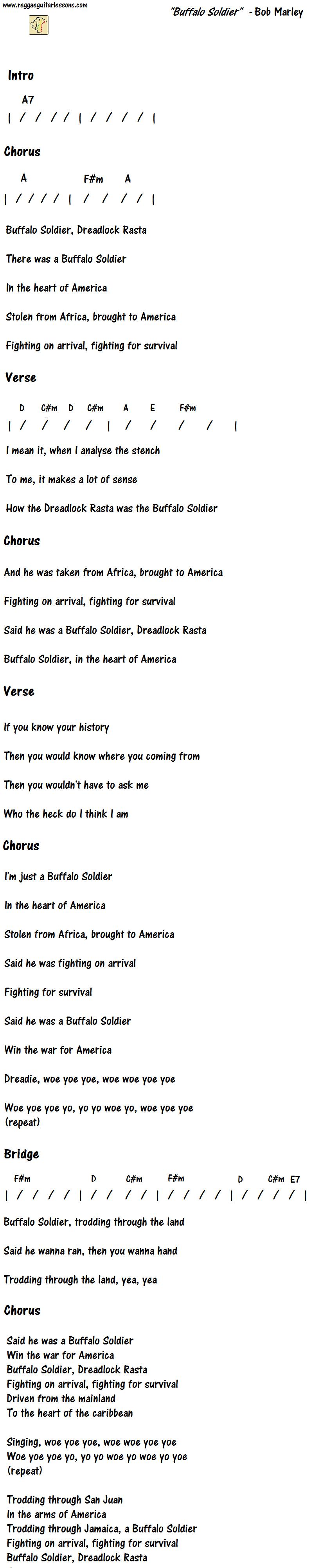 Buffalo soldier chords bob marley guitar chord charts buffalo soldier chords bob marley hexwebz Gallery