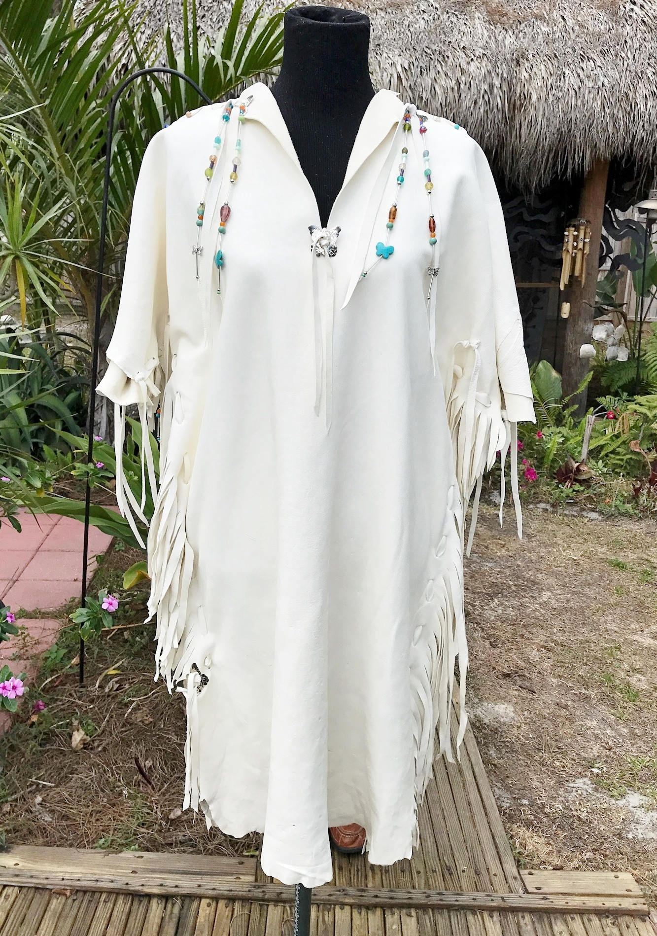 Native american wedding dress  White Deerskin Dress Native American Style Wedding Dress White