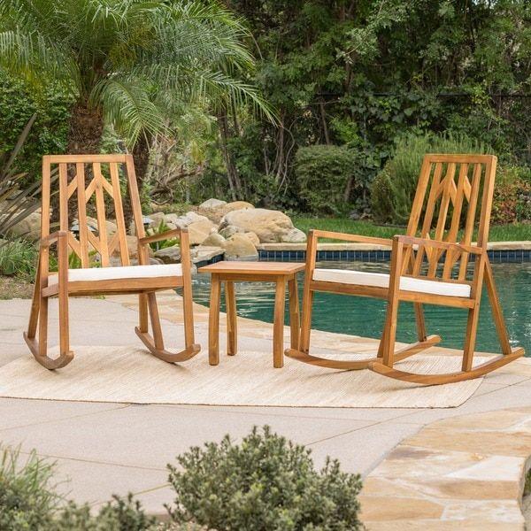 Enjoyable Nuna Outdoor 3 Piece Wood Rocking Chair Bistro Set With Ibusinesslaw Wood Chair Design Ideas Ibusinesslaworg