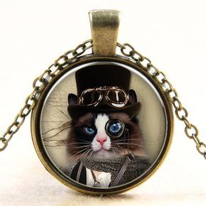 "Steampunk Cat Necklace Pendant Size: 1"" Chain Length: 18"" Material: Alloy, Glass 100% Safe & Secure Checkout with Visa, Mastercard, AMex, Discover or PayPal Choose your Style & Click ""Add to Cart"" to"