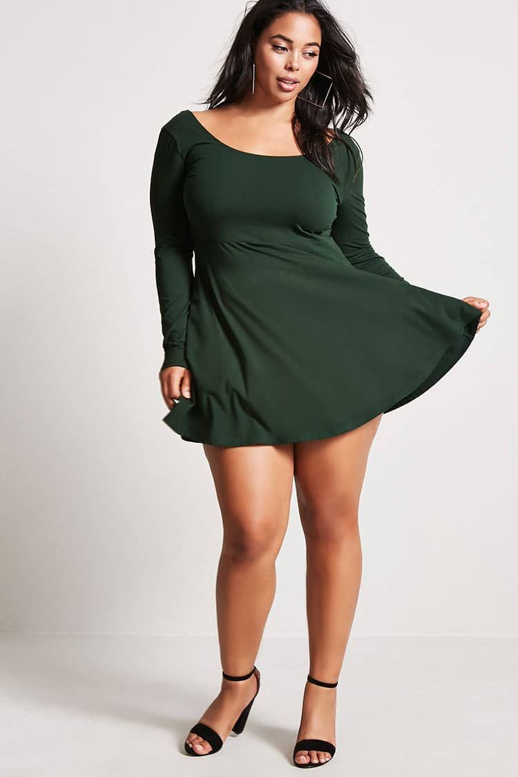 d04fde19eaa Product Name Plus Size Scoop-Neck Skater Dress