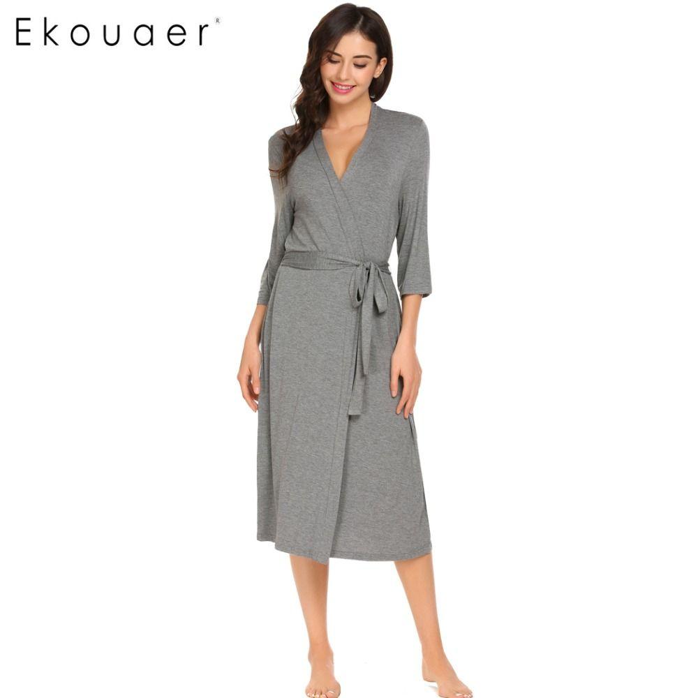 29e505eb42 Ekouaer Long Womens Robe 3 4 Sleeve Solid Loose V Neck Self Belt Bathrobe  Night Sexy Robes Night Grow Kimono Robe Size S-XL