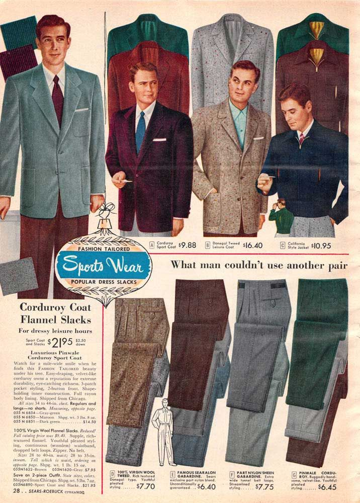 5552cd3b36 Vintage Mens Suits from a 1952 Sears catalog | 1950s: Men's Fashion ...