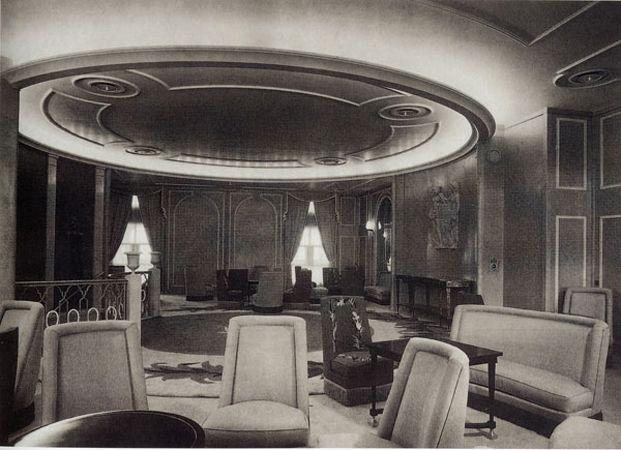 André Arbus, le grand salon du paquebot Bretagne, 1952   interiors ...