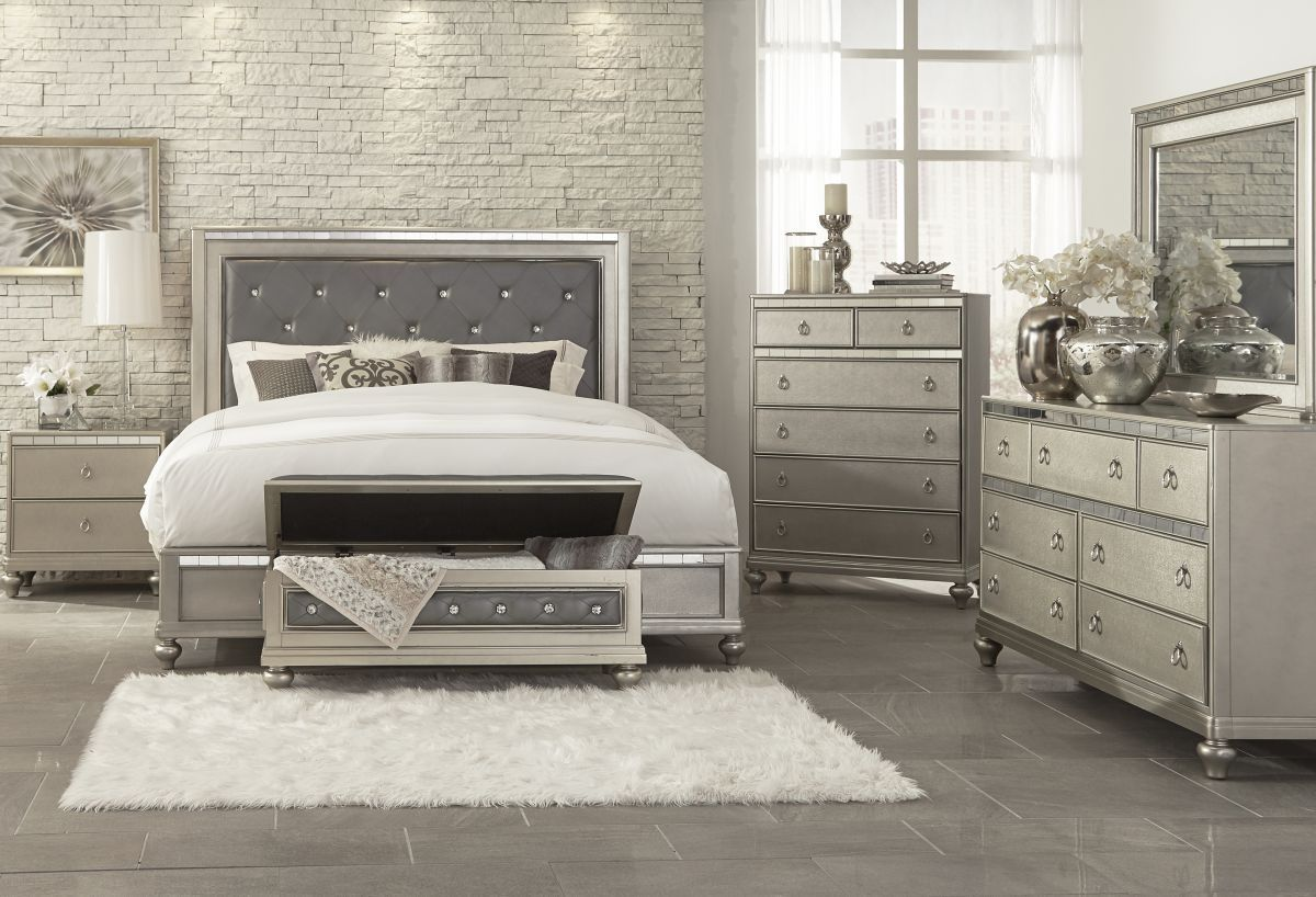 Badcock More Aurora Champagne 5 Pc Queen Bedroom With Images