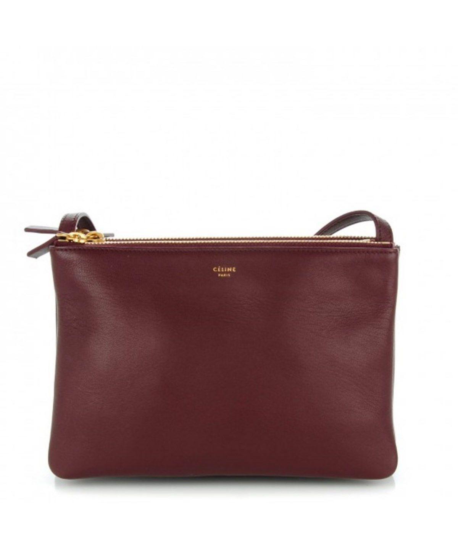 d444be4494eb CELINE Trio Crossbody Handbag Burgundy .  celine  bags  shoulder bags   leather  crossbody  lining