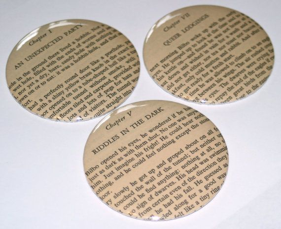 The Hobbit  Set of 3 Magnets made with book by thebookishlife, $12.00