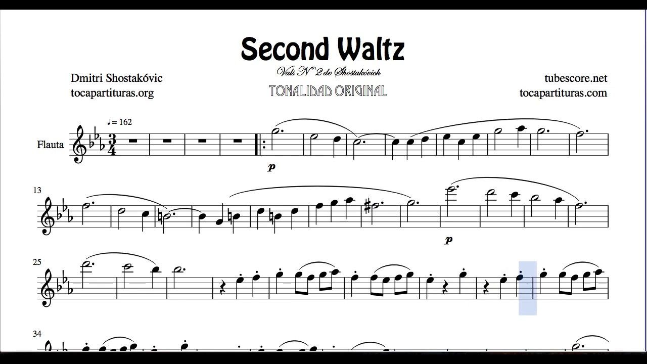Second Waltz By Shostakovich Sheet Music For Flute Sheet Music