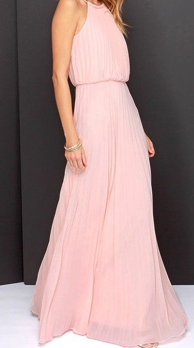 bbd2b2f1f19593 Pink Sleeveless Halter Pleated Maxi Dress