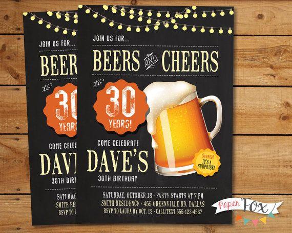 30th Birthday Invitation 40th ANY Age Beer