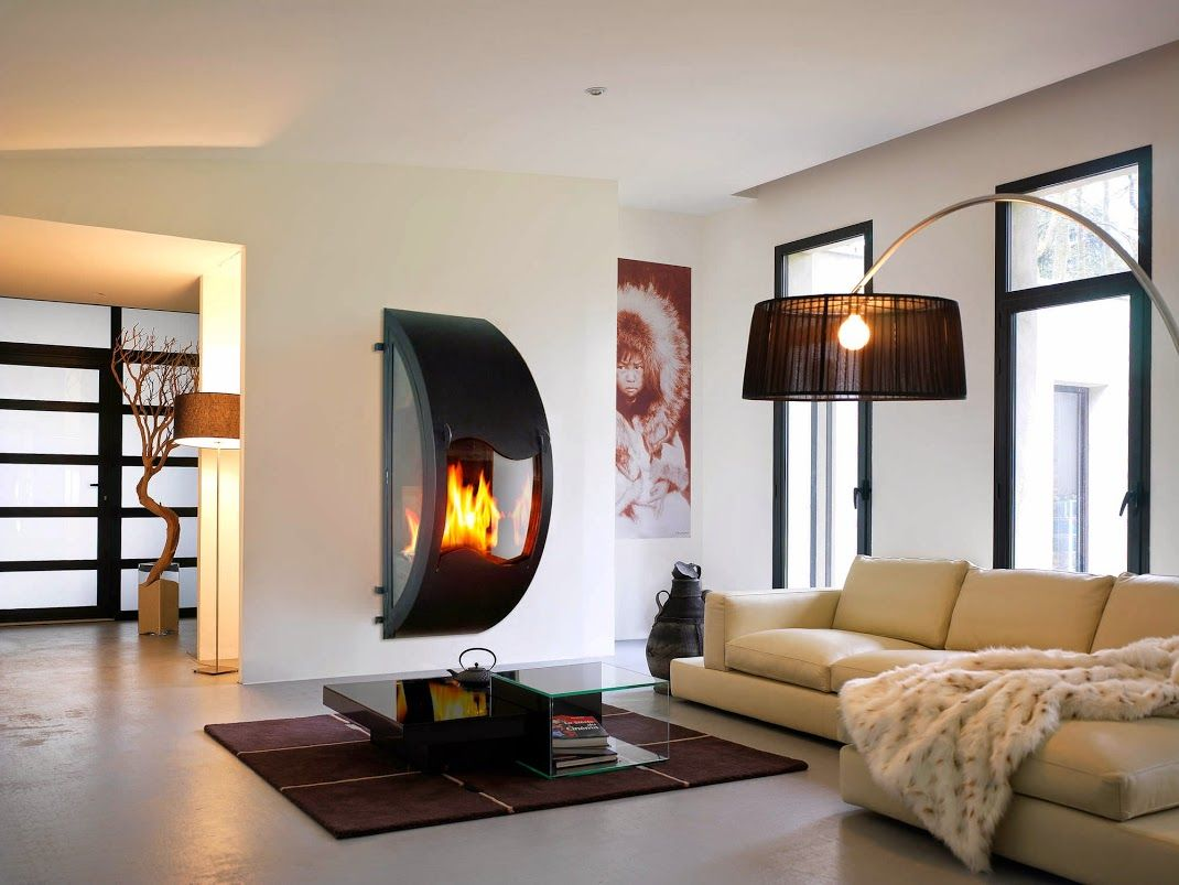 A very different wall hung fireplace for the lounge room. #fireplaces